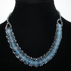 """Silver crystal beaded necklace 19"""""""